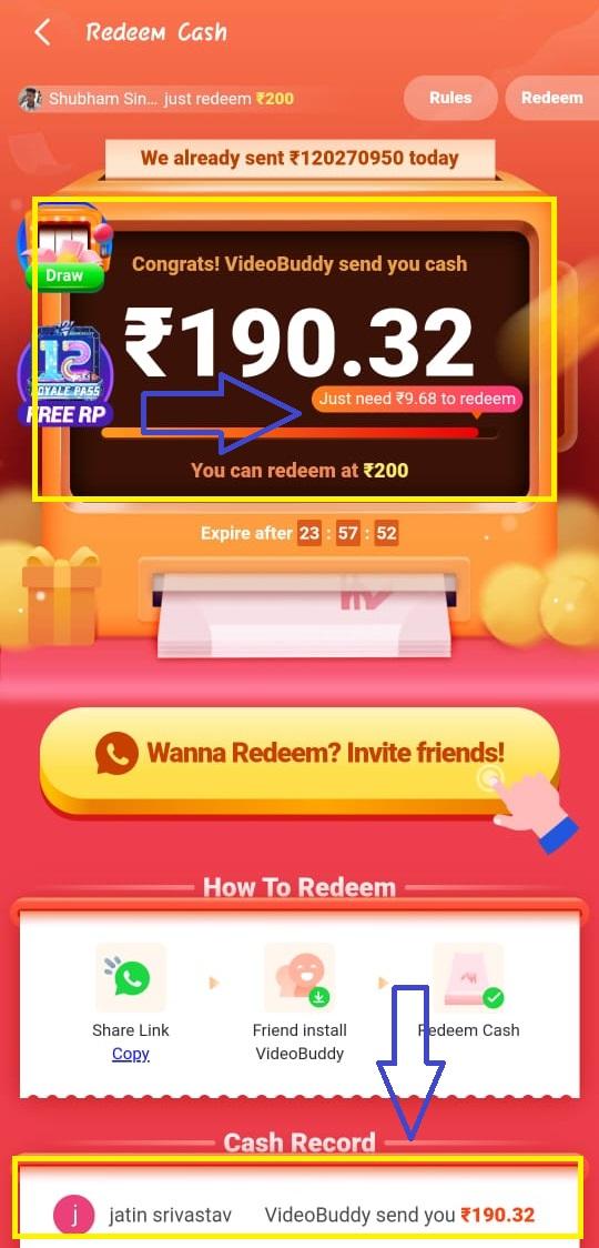 videobuddy redeem money