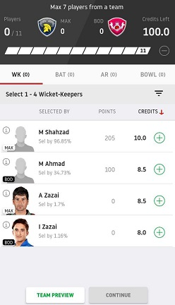 dream11 select players