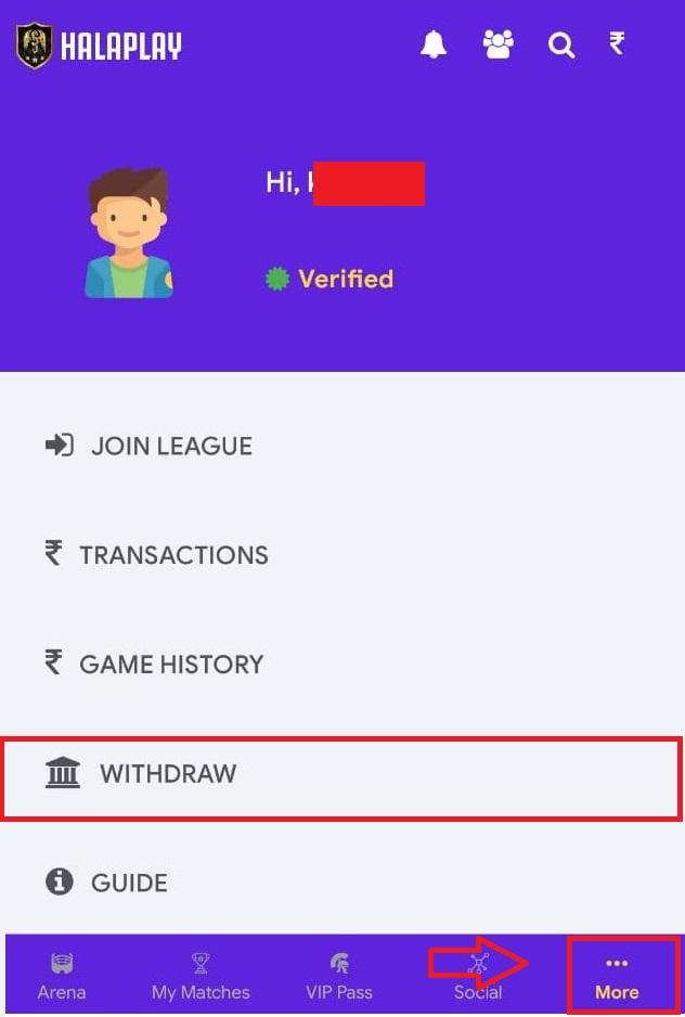 Halaplay withdraw option
